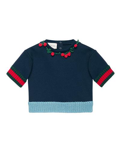 Short-Sleeve Neoprene Sweatshirt, Navy, Size 6-36 Months