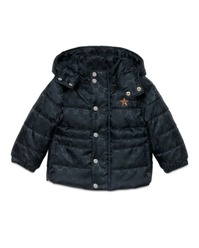 GG Jacquard Puffer Jacket, Navy, Size 6-36 Months