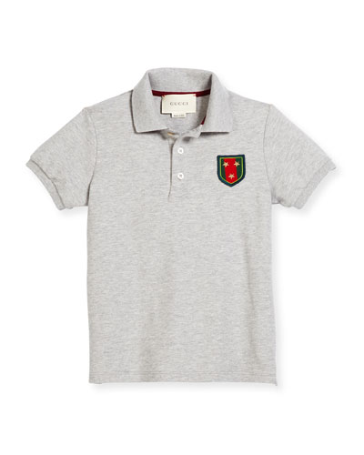 Short-Sleeve Pique Polo Shirt, Gray, Size 4-12