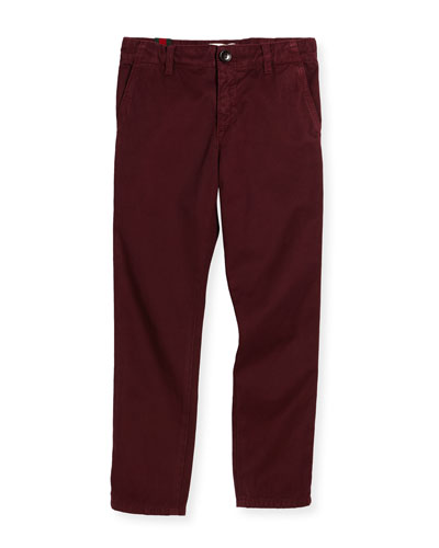 Cotton Twill Straight-Leg Pants, Vineyard, Size 4-12