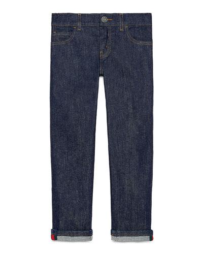 Washed Stretch Denim Jeans, Indigo, Size 4-12