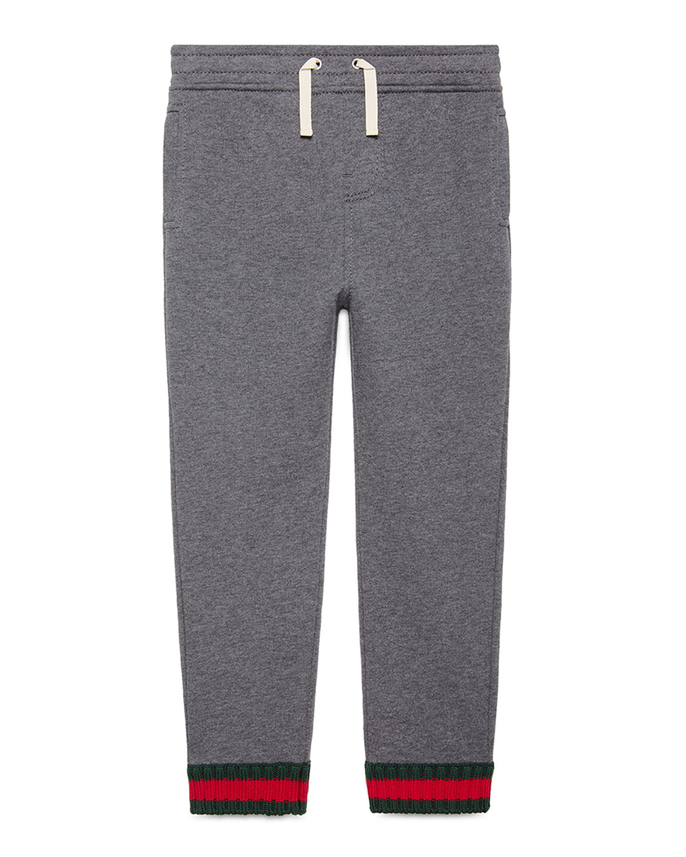 Jersey Drawstring Track Pants, Gray, Size 4-12