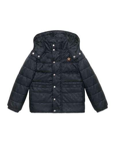 Hooded GG Puffer Jacket, Navy, Size 4-12