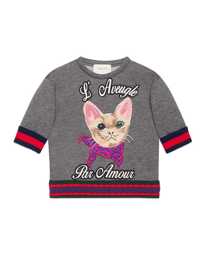 Short-Sleeve Neoprene Cat Pullover Sweatshirt, Gray, Size 4-12