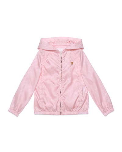 Hooded Zip-Front GG Jacket, Rose, Size 4-12