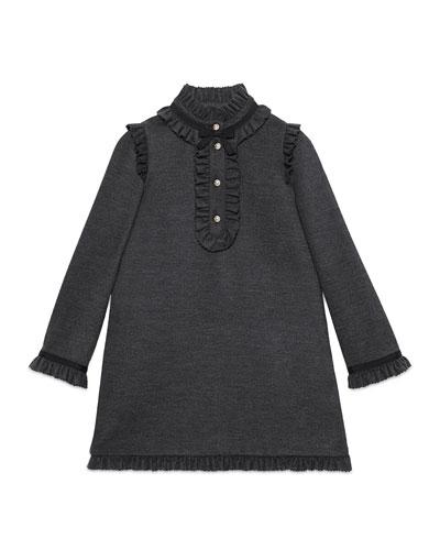 Long-Sleeve Wool-Blend Shift Dress, Dark Gray, Size 4-12