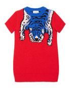 Short-Sleeve Wool Tiger Sweaterdress, Red Diamond, Size 4-12