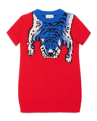 Short-Sleeve Wool Tiger Sweaterdress, Red Diamond, Size 4-12