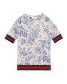 Short-Sleeve Floral Jersey Dress, Blue Sapphire, Size 4-12