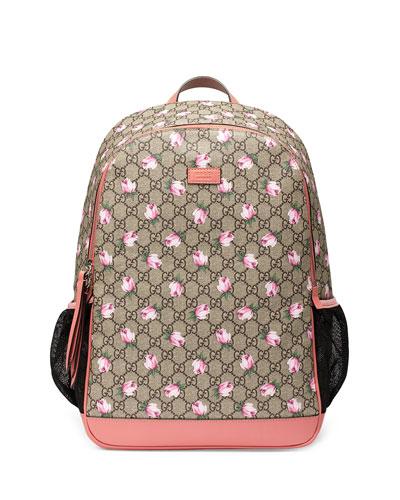 Classic GG Supreme Rose Backpack Diaper Bag, Beige