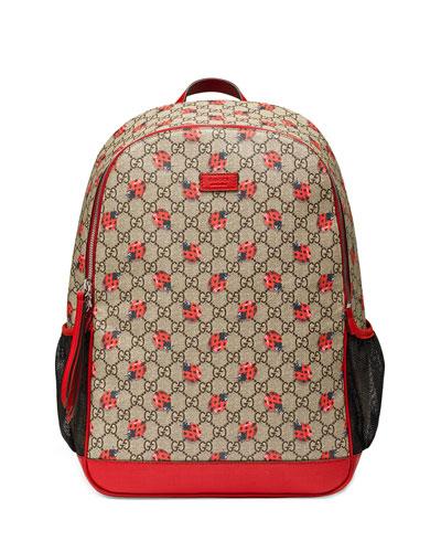 Classic GG Supreme Ladybug Backpack Diaper Bag, Beige