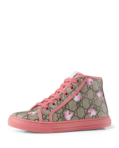 California GG Supreme Printed High-Top Sneaker, Pink, Youth