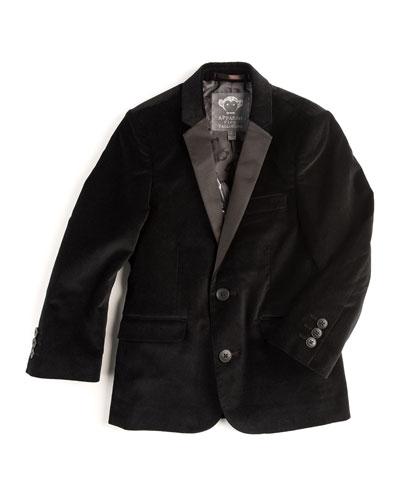 Velvet Tuxedo Blazer, Black, Size 2T-14