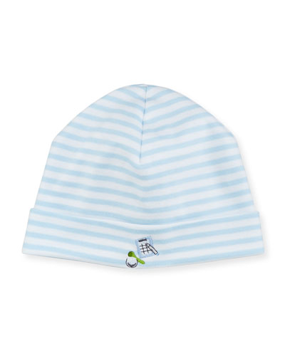 Mini Golf Striped Baby Hat, Light Blue