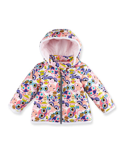 Hooded Monster-Print Jacket, Pink/Multicolor, Size 12-24 Months