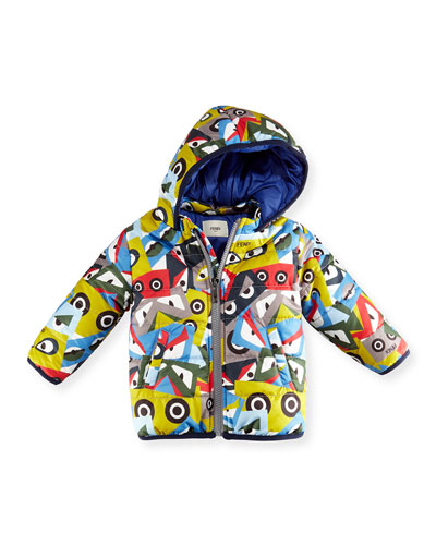 Hooded Monster-Print Jacket, Blue/Multicolor, Size 12-24 Months