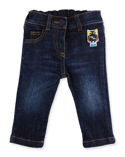 Stretch Denim Monster Jeans, Blue, Size 12-24 Months