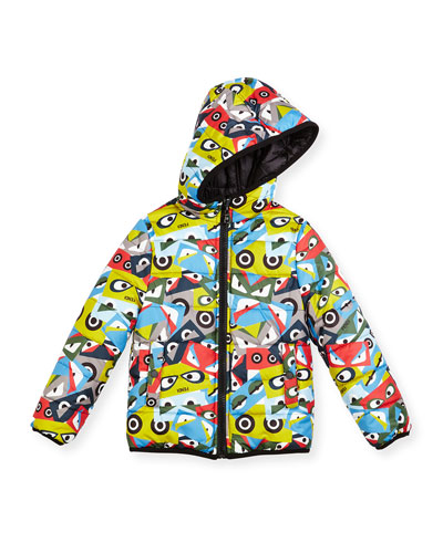 Hooded Monster-Print Reversible Jacket, Multicolor, Size 6-8