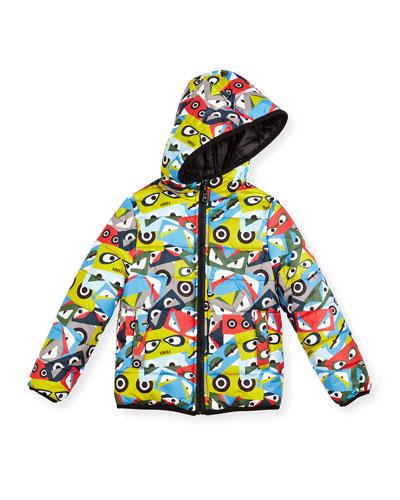 Hooded Monster-Print Reversible Jacket, Multicolor, Size 6-8