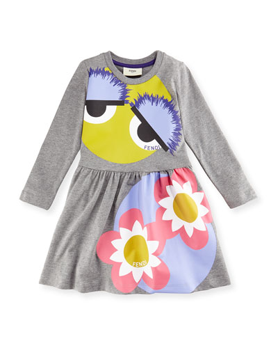 Long-Sleeve Melange Fit-and-Flare Monster Dress, Gray, Size 6-8