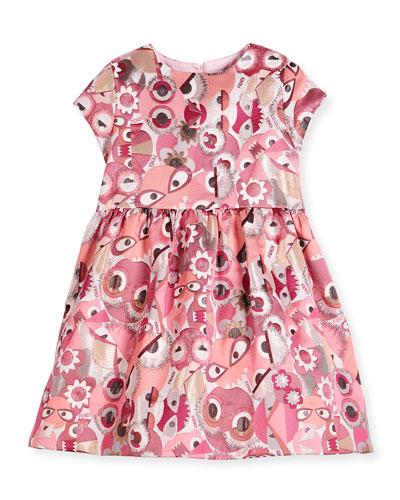 Cap-Sleeve Smocked Monster Dress, Fuchsia, Size 6-8