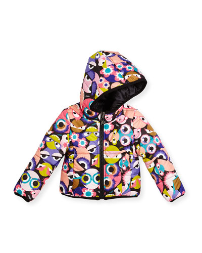 Floral Hooded Monster-Print Reversible Jacket, Multicolor, Size 6-8