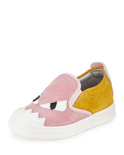 Suede Monster Slip-On Sneaker, Pink/Yellow, 11T-3.5Y