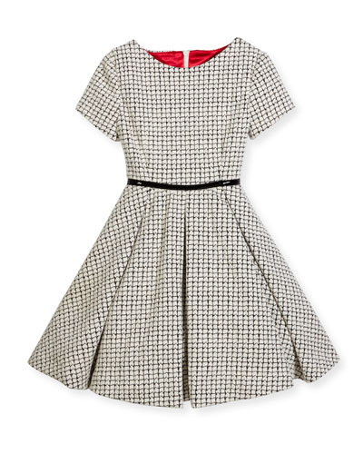 Short-Sleeve Textured Fit-and-Flare Dress, Black/Ivory, Size 7-14