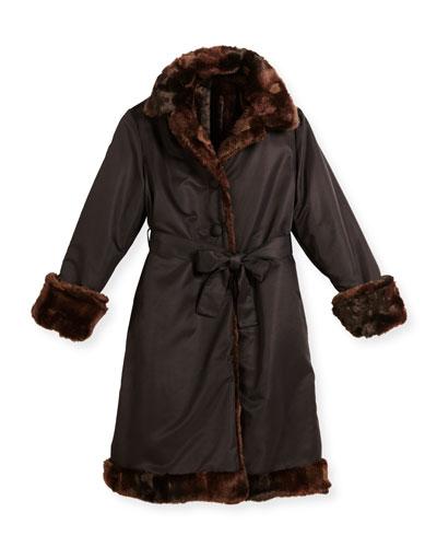 Reversible Belted Microfiber Coat, Black/Brown, Size 7-14
