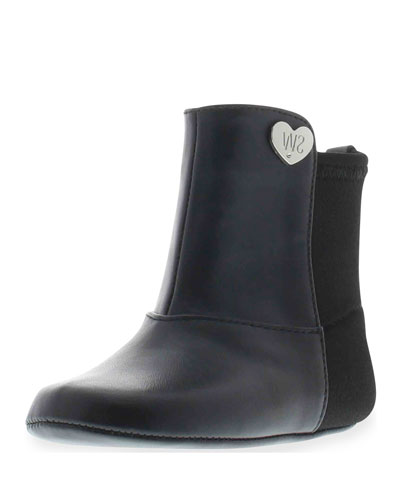 5050 Faux-Leather & Neoprene Boot, Black, Infant