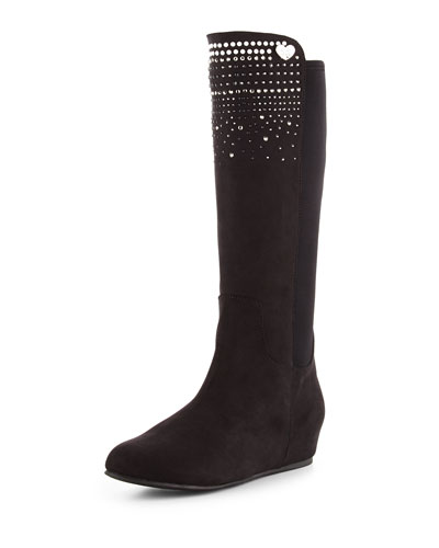 Iselle Pearl Microsuede® Wedge Boot, Black, Youth