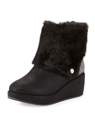 Gia Faux-Fur Microsuede® Bootie, Black, Youth