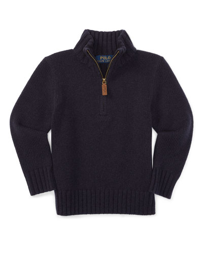 Italian Cashmere Mock-Neck Pullover Sweater, Navy, Size 2-7