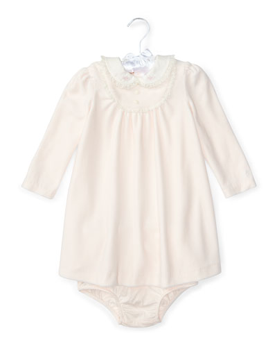Velour Lace-Trim Dress w/ Bloomers, Pink, Size 3-24 Months