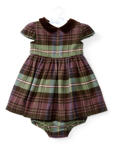 Cap-Sleeve Plaid Dress w/ Bloomers, Blue/Green/Red, Size 6-24 Months