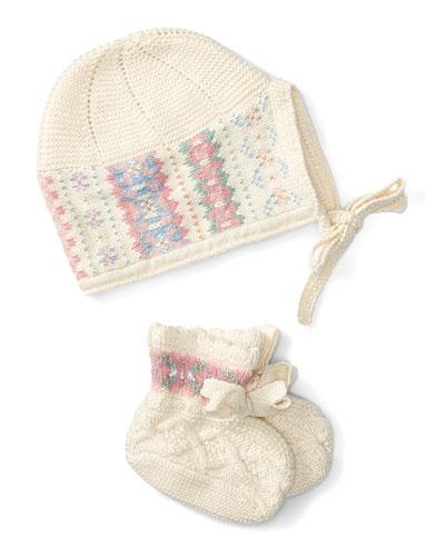 Intarsia Hat & Bootie Set, Cream, Size Newborn-9 Months