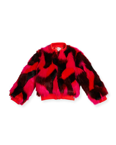 Patterned Faux-Fur Jacket, Red, Size 14-16