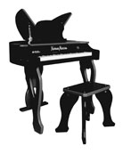 37-Key Electronic Butterfly Piano & Bench, Black