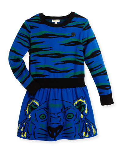 Long-Sleeve Knit Tiger Dress, Blue, Size 8-12