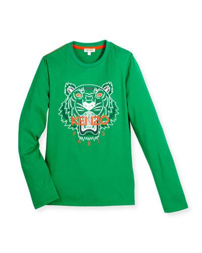 Long-Sleeve Cotton Logo Tee, Green, Size 8-12