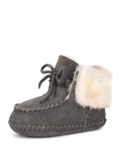 Sparrow Suede Baby Bootie, Gray, Infant