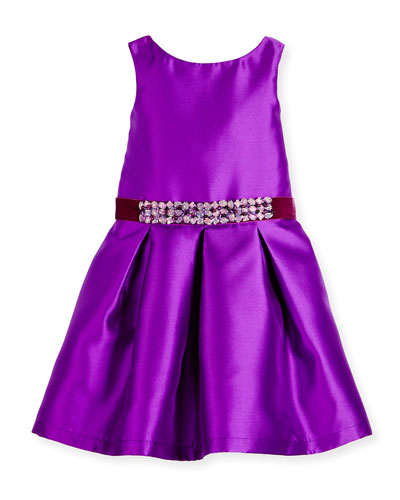 Sleeveless Belted Taffeta Party Dress, Purple, 7-16