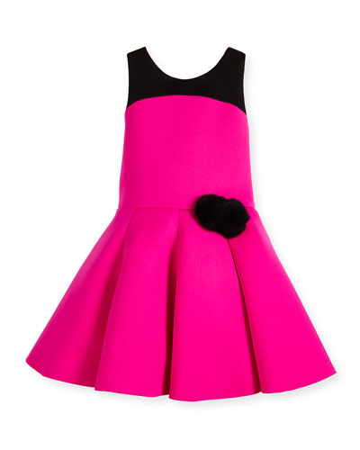 Sleeveless Two-Tone Pleated Dress, Pink/Black, Size 2-6