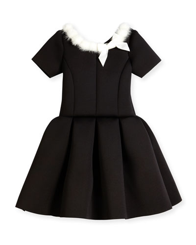 Short-Sleeve Pleated Fit-and-Flare Scuba Dress, Black, Size 4-6