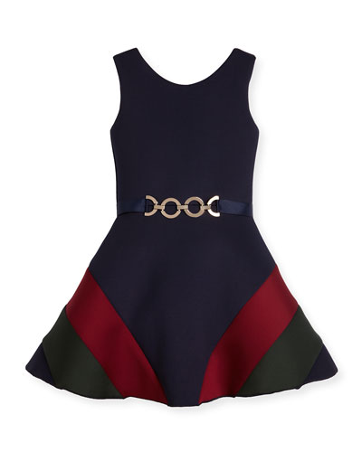 Sleeveless Belted Colorblock Ponte Dress, Navy, Size 4-6