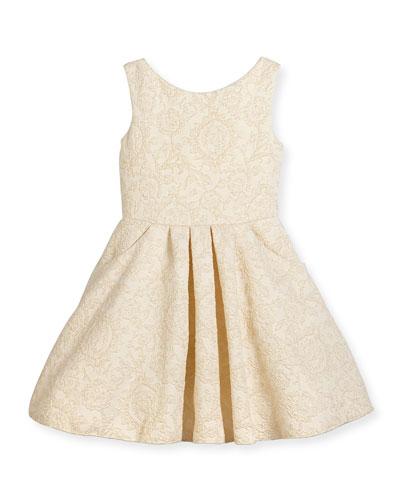 Sleeveless Metallic Jacquard Dress, Gold, Size 7-16
