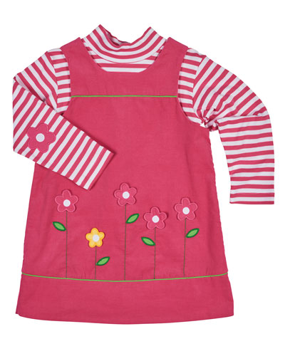 Floral Corduroy Dress w/ Striped Tee, Fuchsia, Size 2-6X