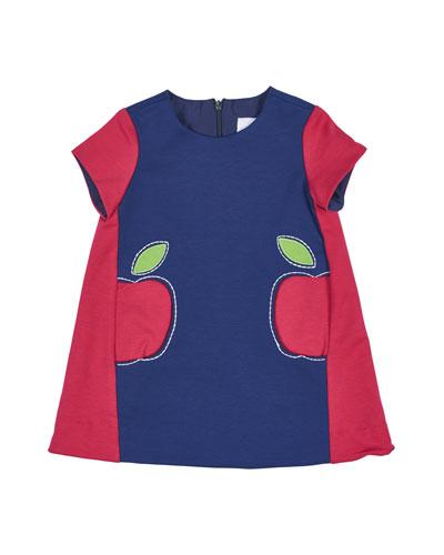Colorblock Ponte Shift Dress, Fuchsia/Royal, Size 2-6