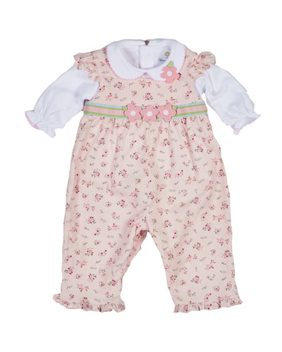 Floral Corduroy Overalls w/ Collared Blouse, Pink, Size 6-24 Months