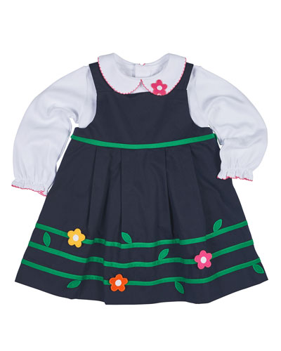 Floral-Trim Twill Dress w/ Blouse, Navy, Size 12-24 Months